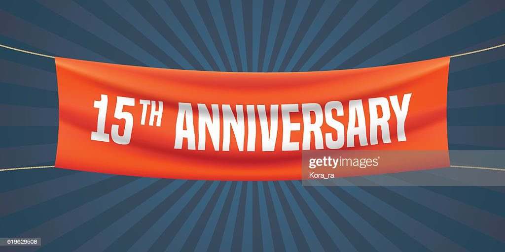 15 years anniversary vector illustration, banner, flyer, icon