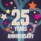 25 years anniversary vector illustration, banner, flyer