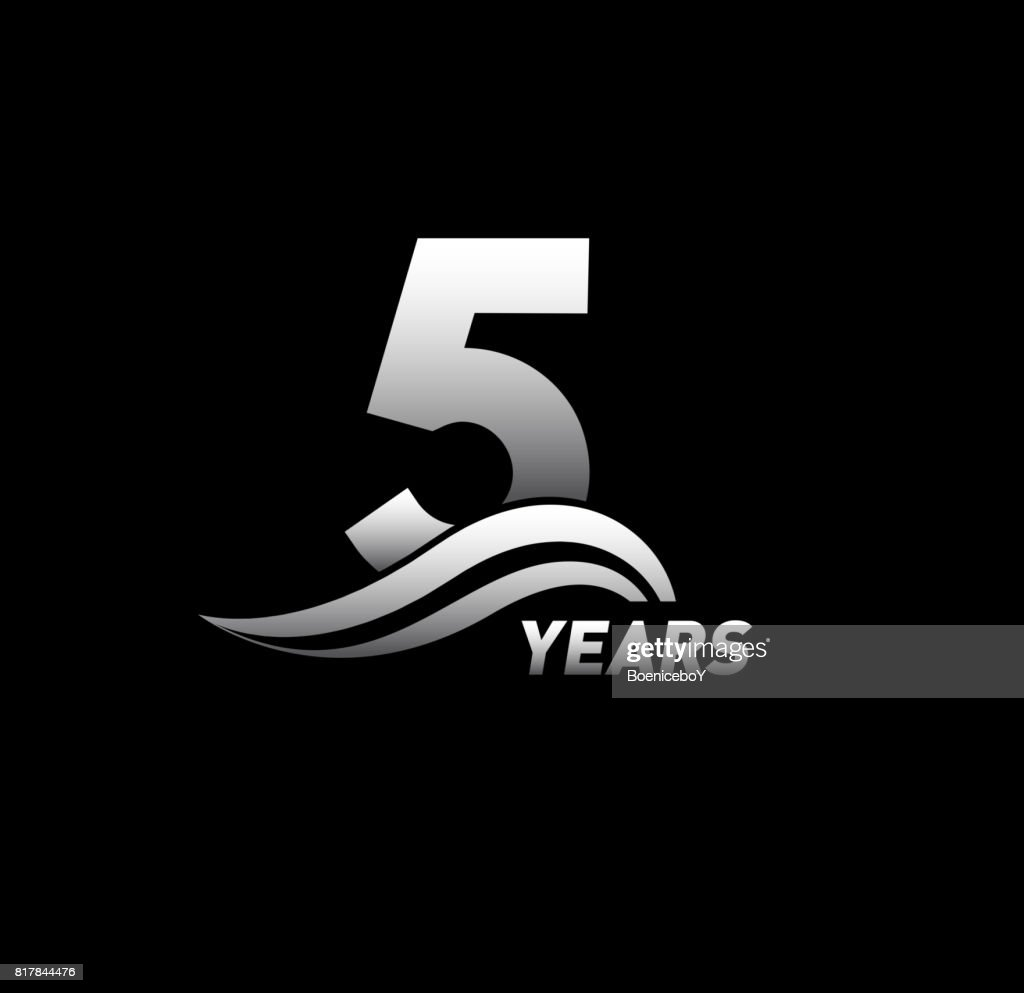 5 Years Anniversary With Swoosh Celebration Design Logo Vector Art