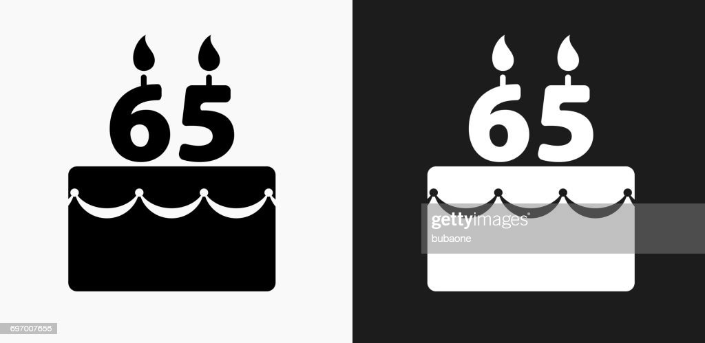 65 Years Birthday Cake Icon On Black And White Vector Backgrounds