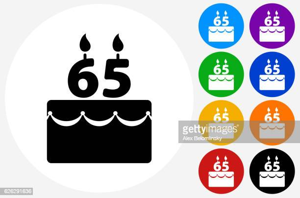 65 Years Birthday Cake Icon on Flat Color Circle Buttons