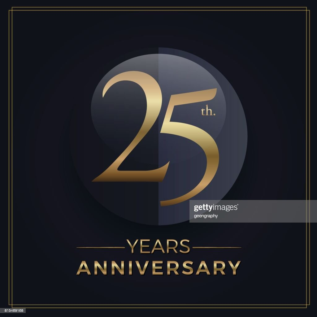 25 years gold and black anniversary celebration simple emblem template on dark background