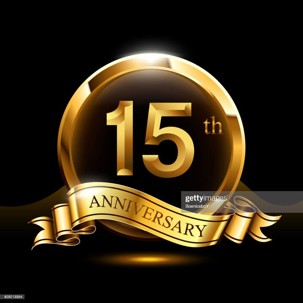 15 Years Golden Anniversary Design Celebration With Ring And Ribbon