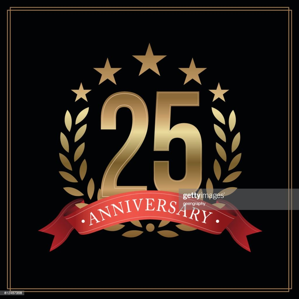 25 years golden anniversary icon, with star, red ribbon, and  laurel wreath isolated on black background, vector design