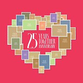 25 years of wedding or marriage vector icon, illustration