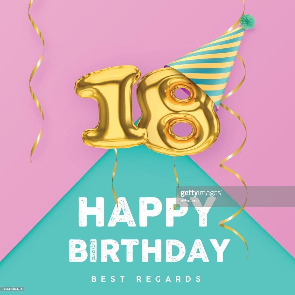 18 Jahre Alt Alles Gute Zum Geburtstag Rosa Girly Vektor Banner ...