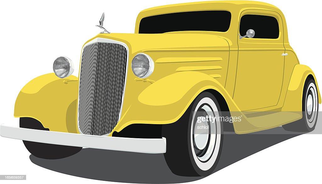 Yellow 1933 Chevrolet Coupe : stock illustration