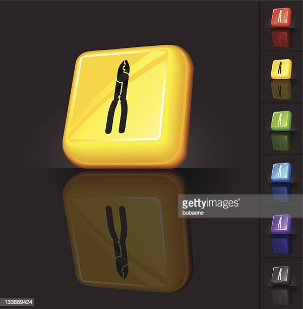 Yellow 3D button design with black icon of clippers