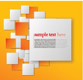 Yellow abstract background with orange and white squares