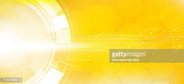 illustrazioni stock, clip art, cartoni animati e icone di tendenza di sfondo del circuito della tecnologia astratta gialla - giallo