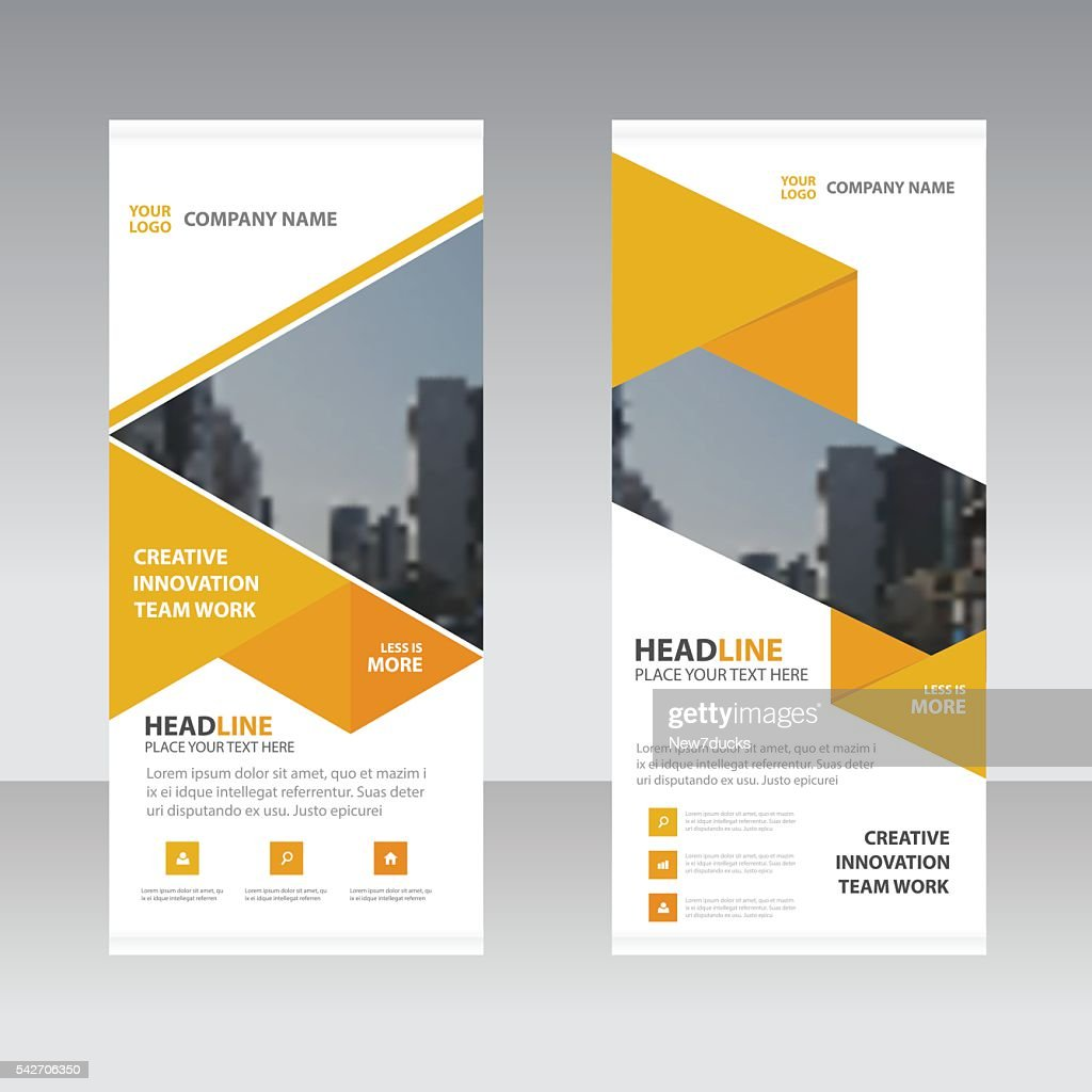 Yellow Abstract triangle Business Roll Up Banner flat design template