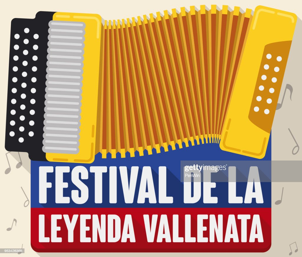 Yellow Accordion forming the Colombian Flag for Vallenato Legend Festival