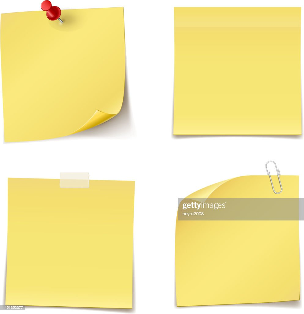 Yellow adhesive notes pinned to white background