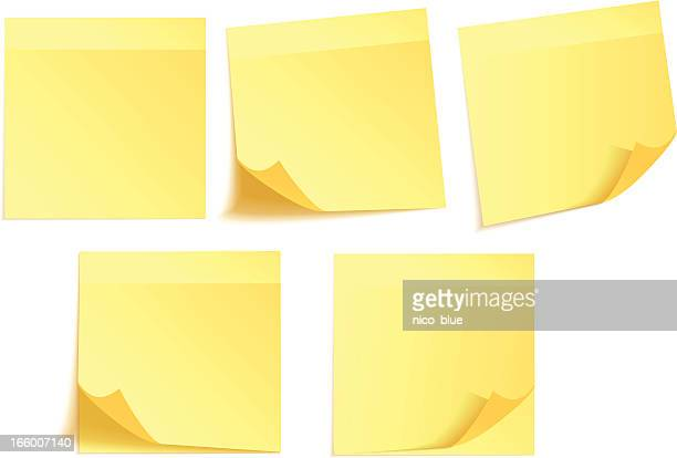 yellow adhesive notes - post it stock illustrations, clip art, cartoons, & icons