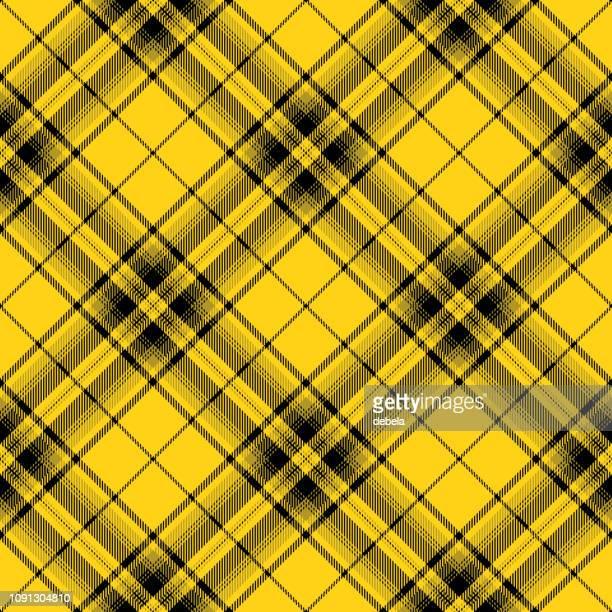 Yellow And Black Scottish Tartan Plaid Textile Pattern