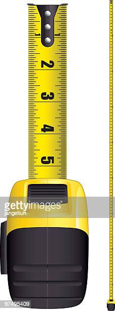 a yellow and black tape measure - inch stock illustrations