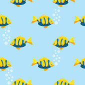 Yellow and Blue Smiling Fish Seamless Pattern