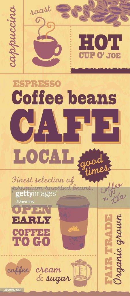Gelb Und Braun Kaffee Themen Poster Wand Banner Design Vorlage :  Vektorgrafik