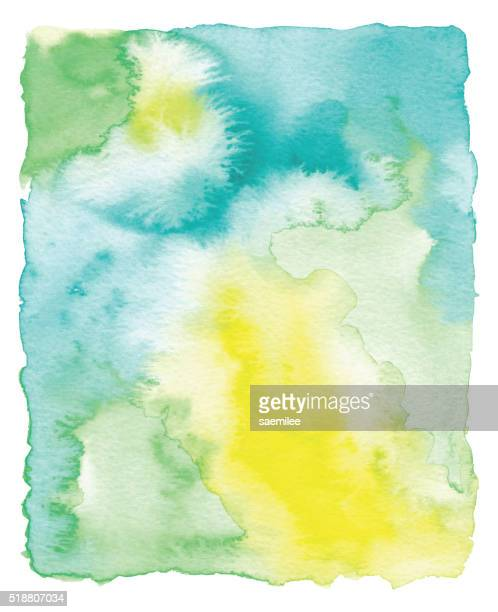 Yellow and Green Watercolor Frame