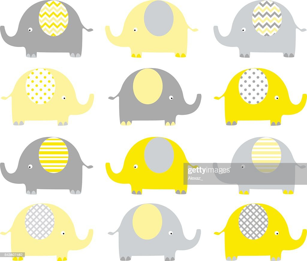 Yellow and Grey Cute Elephant