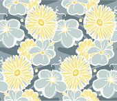 Yellow and Grey Floral Seamless Pattern