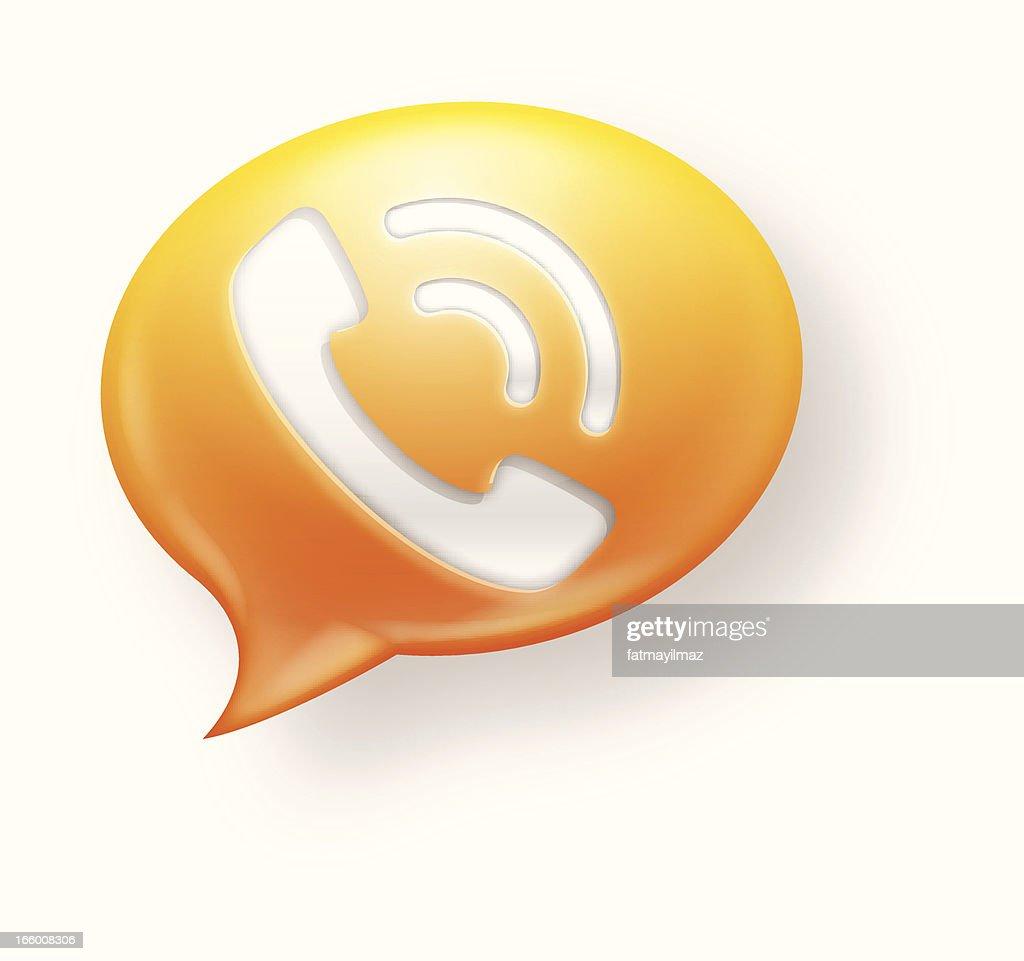 Yellow and orange communication icon on white background