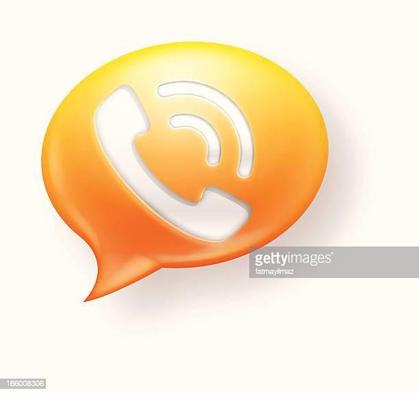 yellow and orange communication icon on white background - answering machine stock illustrations, clip art, cartoons, & icons