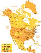 Yellow and orange map of North America