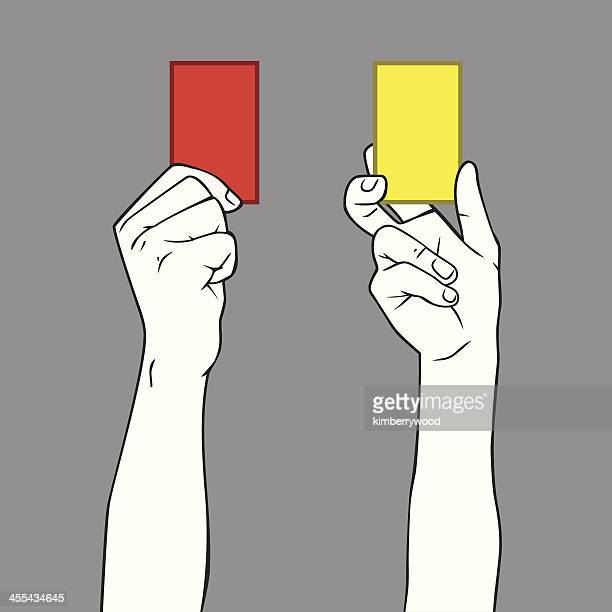yellow and red card - yellow card sport symbol stock illustrations