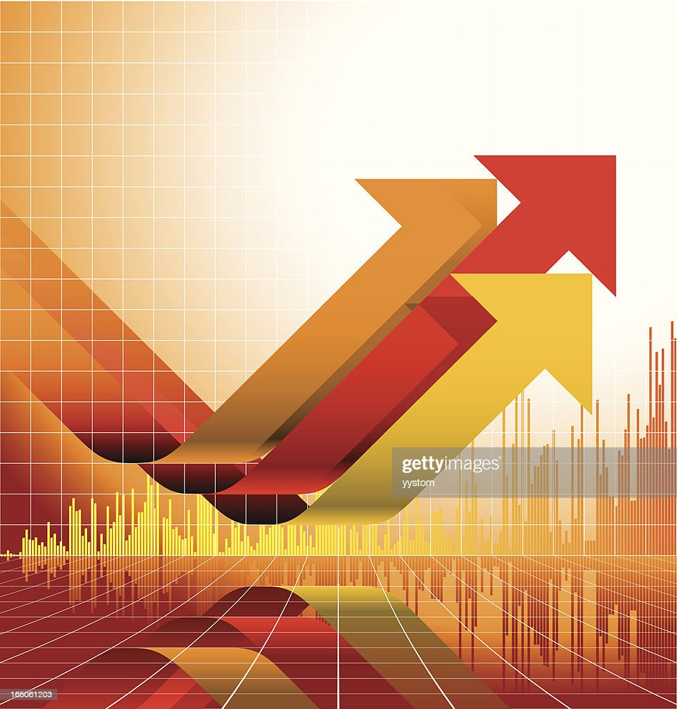 Yellow and red graph design with upward arrows