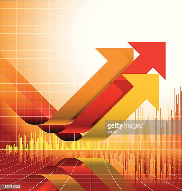 yellow and red graph design with upward arrows - economy stock illustrations