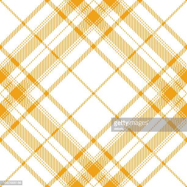 yellow and white scottish tartan plaid textile pattern - scottish tweed stock illustrations, clip art, cartoons, & icons