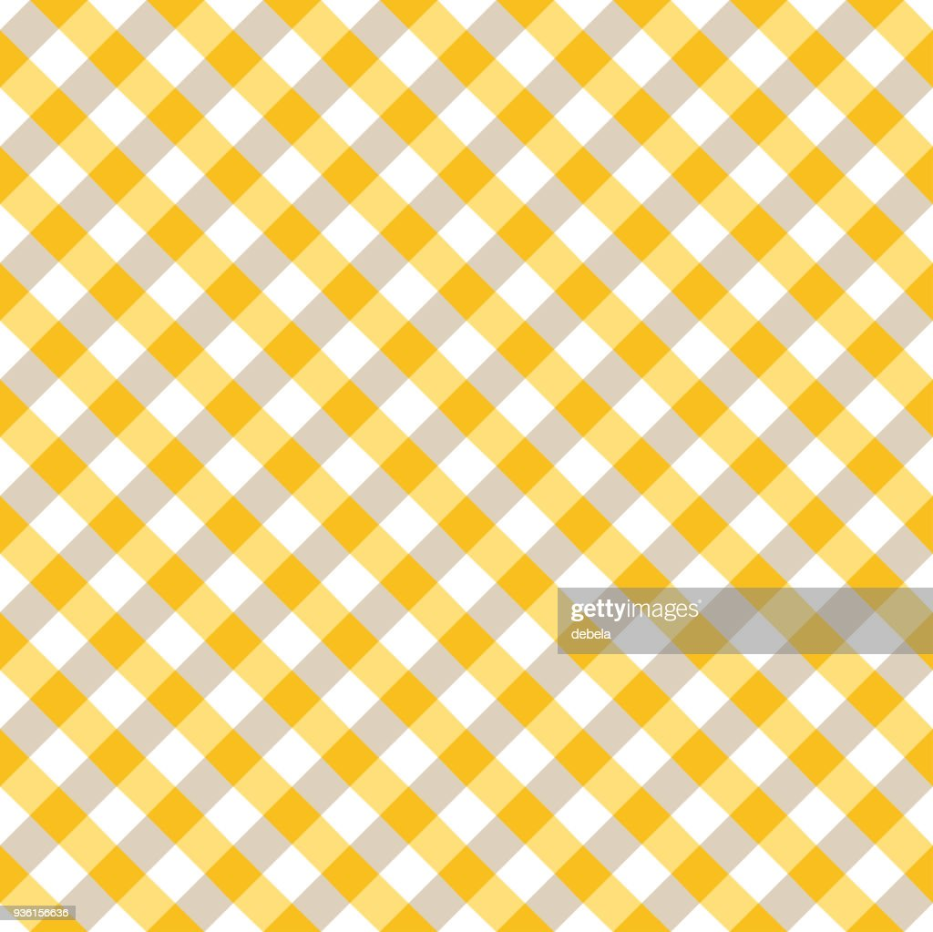 Yellow And White Tablecloth Argyle Pattern : Vector Art