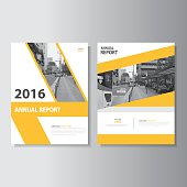 Yellow annual report flyer brochure leaflet template vector design