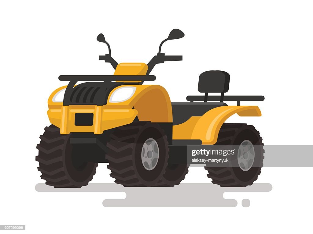 Yellow ATV. Four-wheel all-terrain vehicle. Quad bike