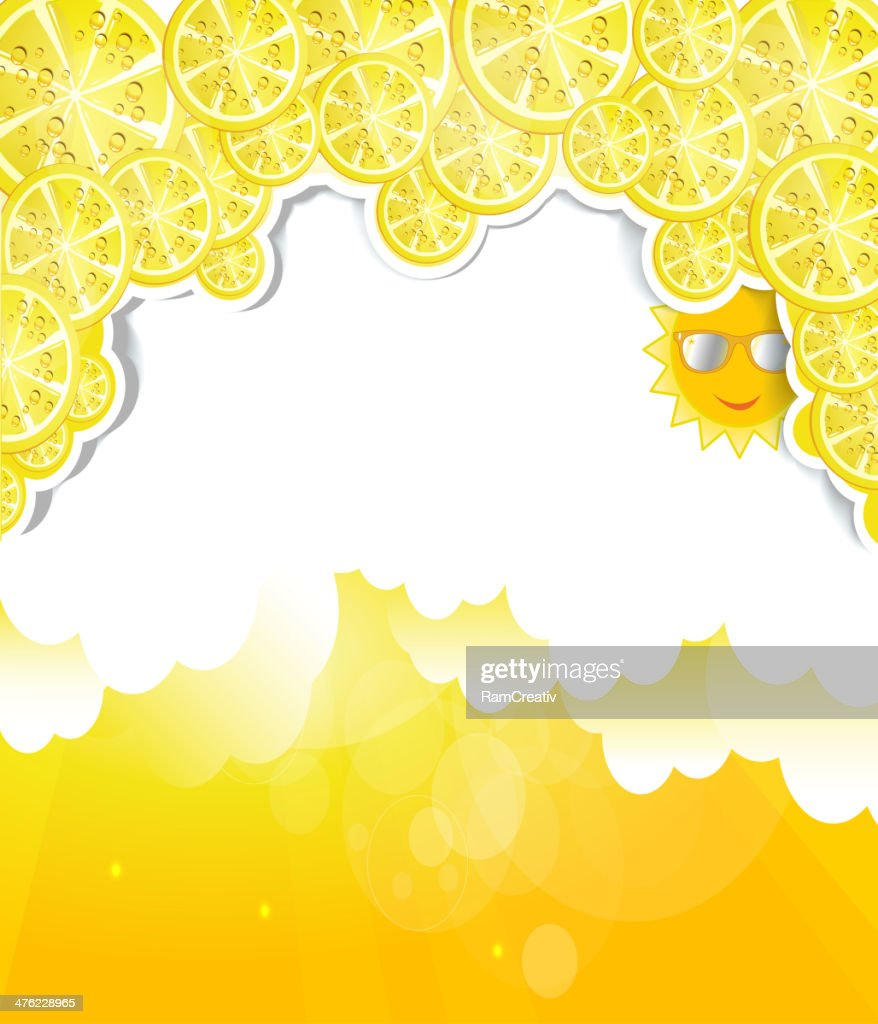 Yellow background with elements of lemons at the top.