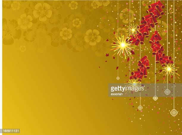 yellow background with firecrackers - firework explosive material stock illustrations