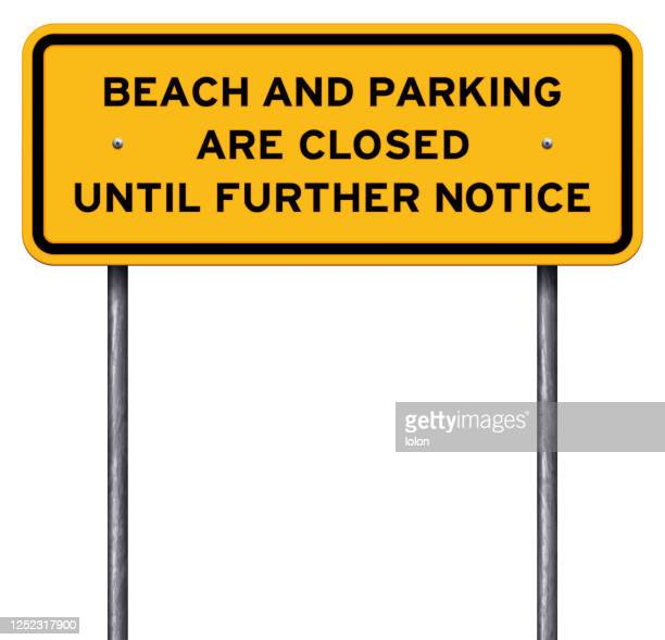 yellow beach closed warning sign isolated on white - closed sign stock illustrations