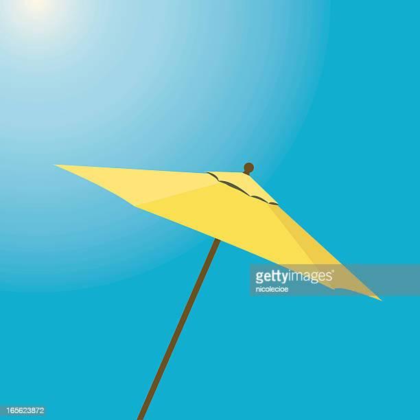 yellow beach umbrella - parasol stock illustrations