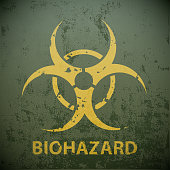 Yellow biohazard symbol on a green military background.