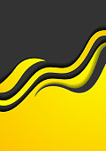 Yellow black abstract corporate waves flyer design