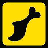 yellow, black sign - gnawed chicken leg icon