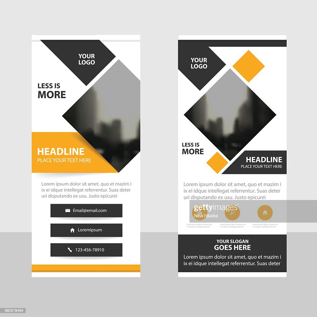 Yellow black triangle Business Roll Up Banner flat design template
