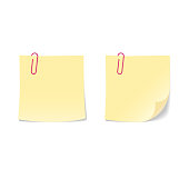 Yellow blank paper sticky note with pink paperclip set.
