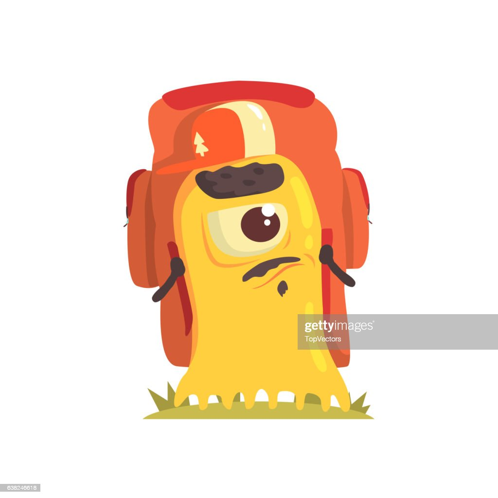 Yellow Blob Monster With Goatee And Moustache  A Backpack