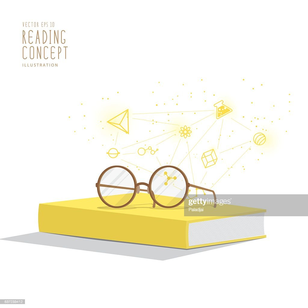 Yellow book with glasses resting on top and icons vector.
