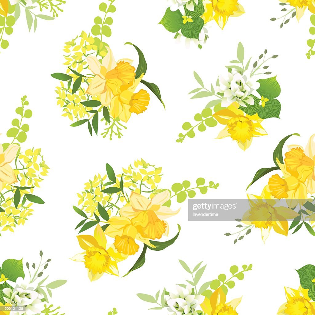 Yellow bouquets of narcissus, wildflowers and herbs seamless vector pattern