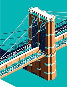 Yellow cab on Brooklyn Bridge isometric