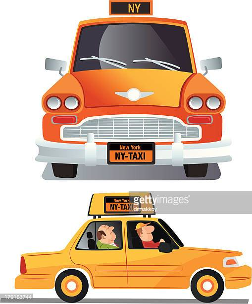 yellow cab - yellow taxi stock illustrations, clip art, cartoons, & icons