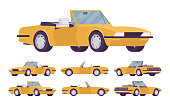 Yellow cabriolet car set